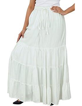 Bimba boho largo maxi falda flaired nivel de la cintura elástica de rayón de las mujeres faldas bohemias