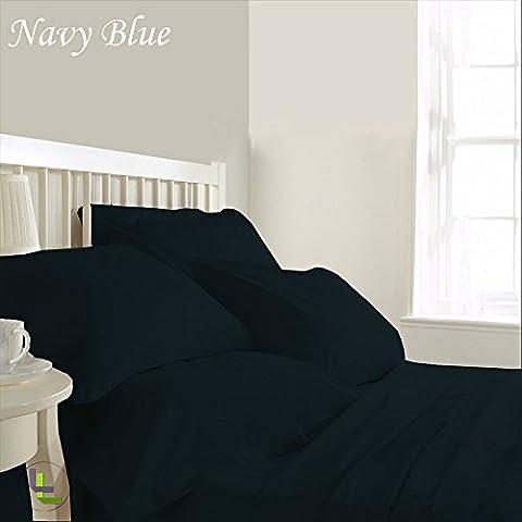 """600TC 100% cotone egiziano, confezione da 6 pezzi, elegante finitura WaterBed, Set di lenzuola, dimensioni: 58,42 (23"""") cm), Cotone, Navy Blue Solid, EU_King_Ikea"""