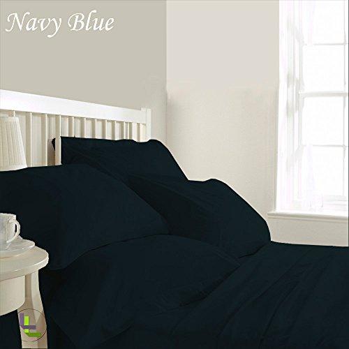 RoyalLinens 600tc 100% ägyptische Baumwolle elegant Finish 6Wasserbett Bettlaken-Set massiv (Pocket Größe: 58,4cm), Baumwolle, Navy Blue Solid, UK_Small_Double Fitted Wiggle Dress