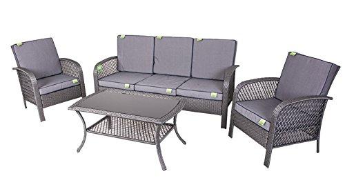 Enrico coveri salotto completo grigio per arredamento giardino, set sofà composto da tavolo rettangolare + 2 poltrone + divano 3 posti in acciaio e polyrattan per arredamento esterno