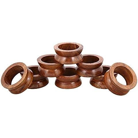 Shalinindia Anelli di tovagliolo artigianalmente in legno naturale-set di 8 anelli, RH_Z_1710_S8