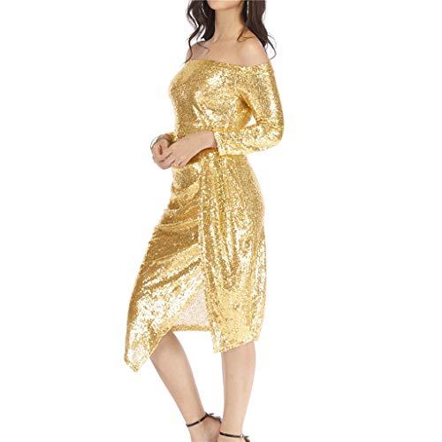 Honestyi Frauen aus der Schulter Tasche Hüften offenen Kragen Kragen Pailletten Kleid Dinner Party Kleid Damen Tasche Hüftkragen Kleid mit offenem Kragen und Paillettenkleid Abendkleid(Gold,XXL)