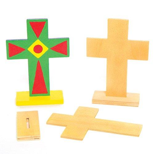 Kreuze zum Aufstellen aus Holz für Kinder zum Bemalen und Verzieren zu Ostern – Kreatives Holz-Bastelset für Kinder/Erwachsene (4 Stück)