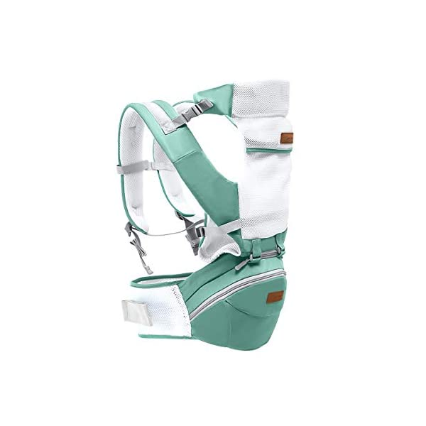 SONARIN 3 in 1 Multifunction Hipseat Baby Carrier,Ergonomic,Mummy Bag,100% Cotton,Breathable mesh Backing,Adapted to Your Child's Growing,Cozy & Soothing for Babies,Ideal Gift(Green) SONARIN Applicable age and Weight:0-36 months of baby, the maximum load: 36KG, and adjustable the waist size can be up to 45.3 inches (about 115cm). Material:designers carefully selected soft and delicate 100% cotton fabric. Resistant to wash, do not fade, External use of 3D breathable mesh,15mm soft cushion,to the baby comfortable and safe experience. 30mm sponge filled, effectively relieve mother's abdominal pressure. Description:patented design of the auxiliary spine micro-C structure and leg opening design, natural M-type sitting. Removable backplane, hold the baby back, perfect support horizontal hold.The baby carrier and the hipseat junction have a protective pad,intimate design, so that your baby more comfortable. 1