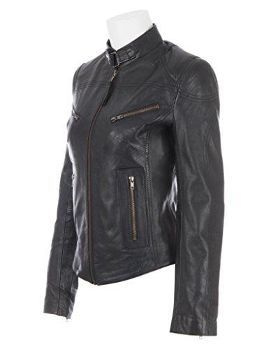 Giacca da moto donna di MDK in vera pelle di pecora super morbida molto moda Nero