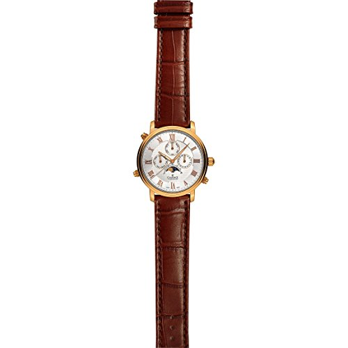 CHARMEX Men's Vienna II 40MM Brown Leather Band Steel CASE Quartz Watch 2495