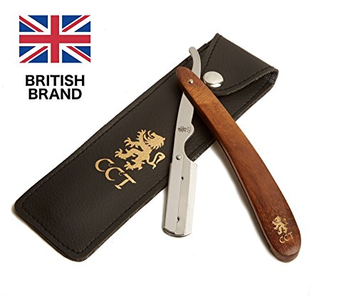 The Cambridge Cut Throat Barber Straight Shaving Swing Lock Razor Kit with Travel Pouch and Natural Cotton Kit Bag for Men Male Grooming Present