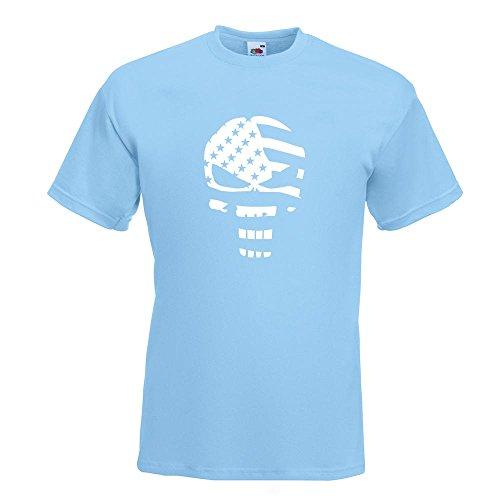 ... Baumwolle Print Größe S M L XL XXL Himmelblau. KIWISTAR - US Punisher  Skull T-Shirt in 15 verschiedenen Farben - Herren Funshirt bedruckt