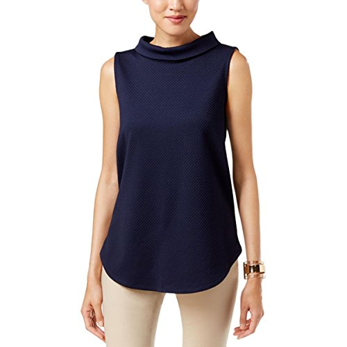 Alfani Womens Mock Neck Zip Back Casual Top Navy M Alfani Mock Neck