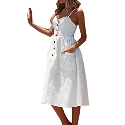 Sommerkleider Floral Bohemian Spaghetti Strap Tasten Unten Solid Off Schulter Sleeveless Princess Swing Midi Kleid mit Taschen(Weiß, EU-46/CN-M) ()