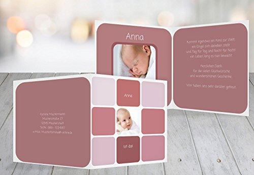 Kartenparadies Danksagung für Geburt Baby Dankeskarte Kästchen, hochwertige Danksagungskarte Baby inklusive Umschläge   5 Karten - (Format: 145x145 mm) Farbe: HellRotMatt