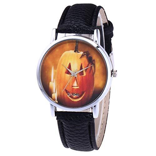 YaptheS Kürbis-Geist Spinnen-Muster-Uhr-beiläufige Art-Uhr-Feiertag Frauen-großes Geschenk für Frauen-Mädchen-Dame - Schwarz