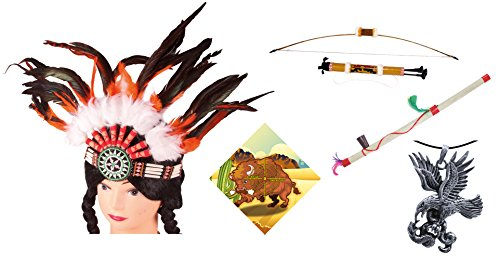 Erlebnis Mittelalter - Kleines Indianerset, Indianerbogen, Köcher, Anhänger, Friedenspfeife, Zielscheibe Buffel, Kopfschmuck, Indianer ()