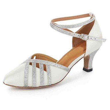 Scarpe da ballo-Personalizzabile-Da donna-Balli latino-americani Danza moderna-Tacco su misura-Finta pelle-Nero Bianco White