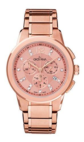 Grovana-Orologio Unisex al quarzo con Display con cronografo e in acciaio INOX placcato in oro rosa, 2094,9266