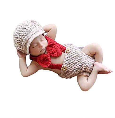 de Big Red Hosen Crochet Strick Unisex-Baby-Kappen Outfit Foto Props ()