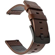 Para Samsung Gear S3 Frontier/Classic banda de reloj, TRUMiRR 22mm de cuero aceitosa banda de reloj inteligente de liberación rápida correa de muñeca para Gear 2 Neo Live, Moto 360 2 46mm Men, Pebble Time, LG G Watch Urbane, Vector, Xiaomi Amazfit