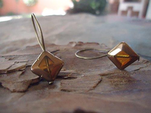 ★ ALTES ECKIGES BERNSTEIN GLAS ★ lange Haken Ohrringe bronze