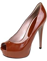 Gucci Cuero marrón plataforma Peep dedo del pie talón bombas 323529 (U.S. ...