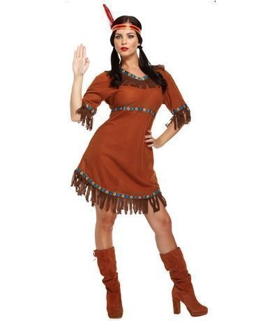 Ladies Sexy Native Indian Squaw Pocahontas Wild West Fancy Dress Costume Outfit by Fancy Me (Wild West Outfit)