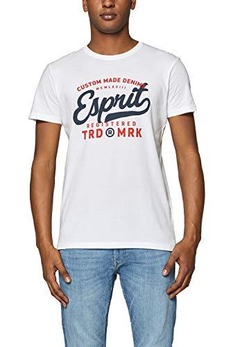 ESPRIT Herren 999EE2K800 T-Shirt, Weiß (White 100), Medium (Herstellergröße: M)