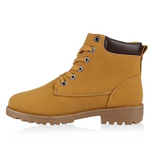 Damen Worker Boots Profil Sohle Outdoor Stiefeletten Robust Hellbraun