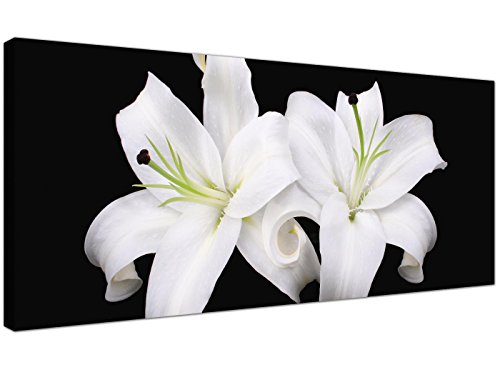 Grande blanco y negro lienzo impresiones de Lily flores–moda Floral pared arte–1128–Wallfillers®