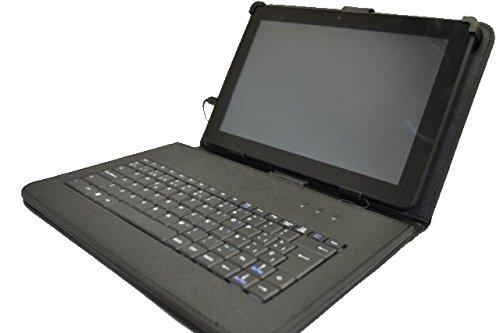 """Funda con Teclado QWERTY en español (Incluye Letra Ñ) para Tablet Bq Aquaris M10 10.1"""" Quad Core - Negro"""