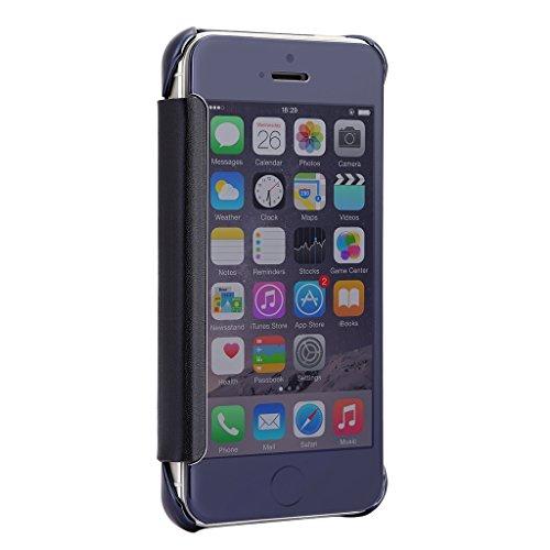 iMusi Coque Housse Protection Pour iphone5/5s Design Fenêtre Pliable Flip Case Bleu foncé Bleu foncé