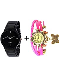 GTC COMBO OF BLACK QUARTZ ANALOG WATCH FOR MAN WITH PINK DESIGNER LEATHER AN...