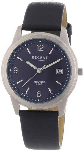 Regent Herren-Armbanduhr XL Analog Quarz Leder 11190133 -
