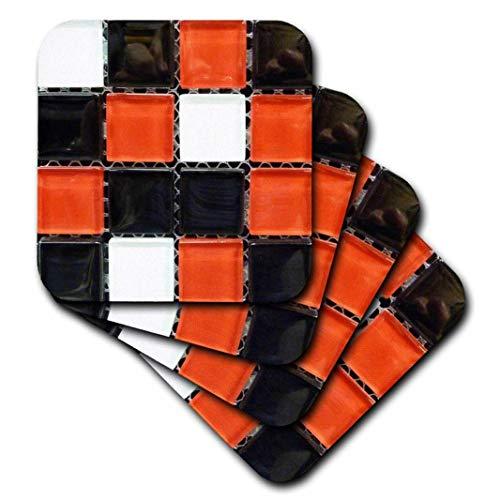 3dRose CST_53236_1 Glasfliesen auf Gitter-Weiße und Rot, 4 Stück -