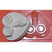 1pc Tuercas Pene Corazón Falo de Plástico Fabricación de Jabón de Cera de Chocolate de Yeso