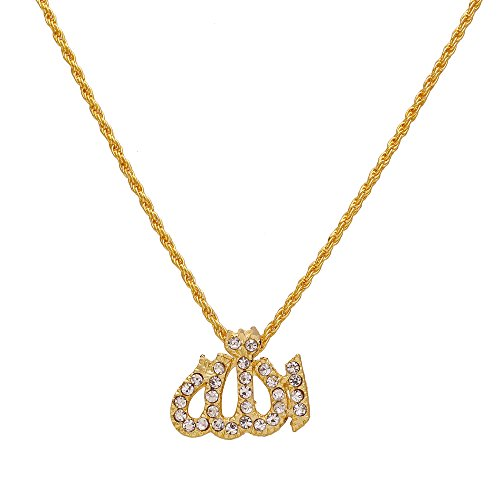 Memoir Gold plated CZ studded Allah Word muslim Eid special, chain pendant...