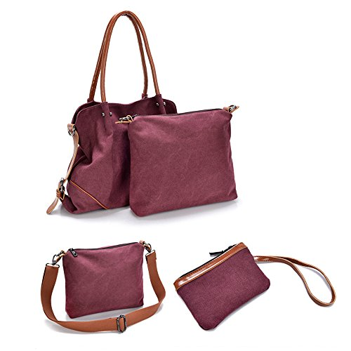 HongyuTing Damen Umhängetasche Canvas Tasche Schultertasche Handtasche Shopper Beuteltasche B067-Weinrot