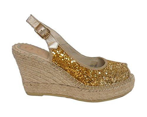 Vidorreta sandalo glitter zeppa corda 12400 oro nr.39