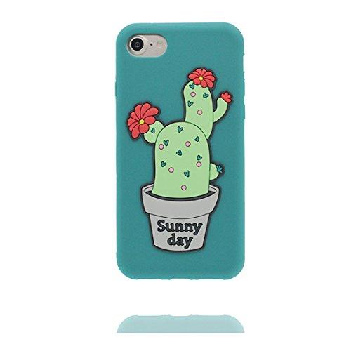 """iPhone 7 Plus Coque Case, TPU Material Flexible iPhone 7 Plus Étui, iPhone 7 Plus Cover 5.5"""" [Choc à l'épreuve] [ Pretty Soft Plastique ] ring Support - Cartoon cactus vert"""
