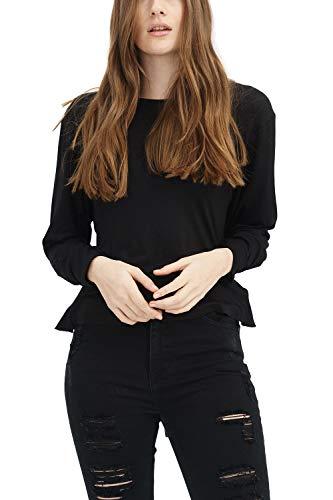trueprodigy Casual Damen Marken Long Sleeve einfarbig Basic, Oberteil cool und stylisch mit Rundhals (Langarm & Slim Fit), Langarmshirt für Frauen in Farbe: Schwarz 1183503-2999-M