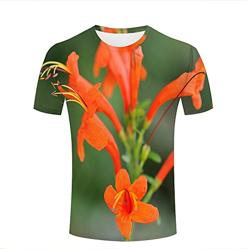 qianyishop Fashion Womens Mens 3D Printed Orange Lipstick Plant Graphic Short Sleeve Tee Tops Couple T-Shirts XL (Design Junior T-shirt Ringer)