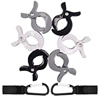 AFASOES 6PCS Stroller Clip 2PCS Stroller Hooks Universal Multi Pram Hooks Clips Hands-Free Stroller Accessories Clips for Mommy Handbags Shopping Bags/Handbag/Baby Changing Bag(Black+White+Grey)