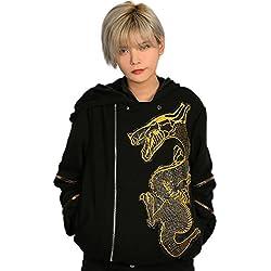 Mesky Chaqueta Negra para Hombres Estampada de Dragón Sudadera con Capucha Cremallera 2019 Primavera Espeso Disfraz