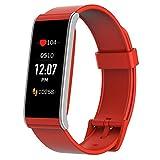 MyKronoz ZeFit 4 HR Traqueur d'activité avec capteur de rythme cardiaque, écran couleur tactile et notifications smartphone – Rouge / Argenté