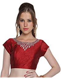 30931d96f04 STUDIO SHRINGAAR POLY RAW SILK BOAT NECK FULLY STITCHED SAREE BLOUSE WITH CRYSTAL  WORK AND MID