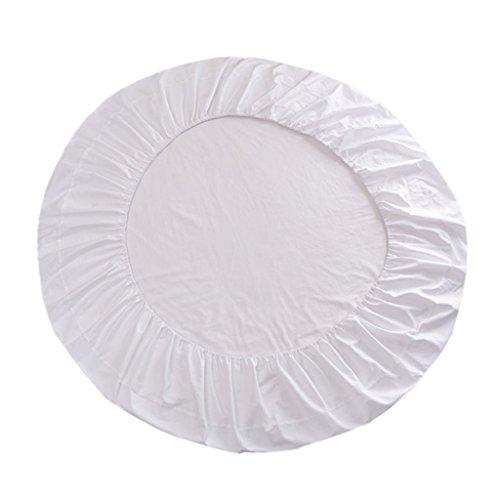 Fenteer Superweiches Baumwolle Runde Bettwäsche Spannbettlaken Baumwolllaken, Durchmesser 220cm - Weiß -