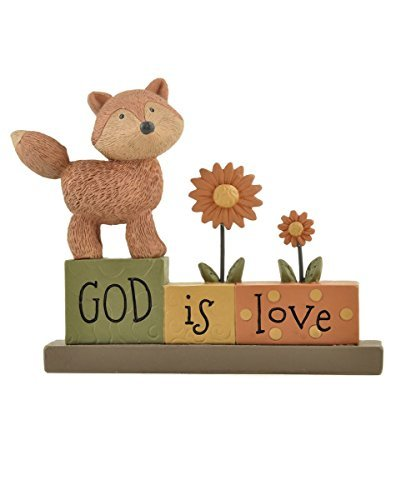 Fox Block (Blossom Bucket God is Love Blocks with Fox/Flowers Christmas Decor, 3-1/4 High by Blossom Bucket)