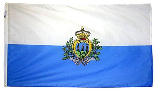 Nyl Glo Nylon (San Marino Flagge 3x 5ft. Nylon solarguard nyl-glo 100% Made in USA zu offiziellen Vereinten Nationen Design Spezifikationen von Annin flagmakers. Modell 221573)