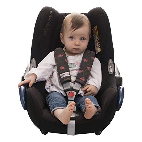 JANABEBE Gurtpolster Universal für Babyschale, Buggy, Autositz FLUOR HEART, M