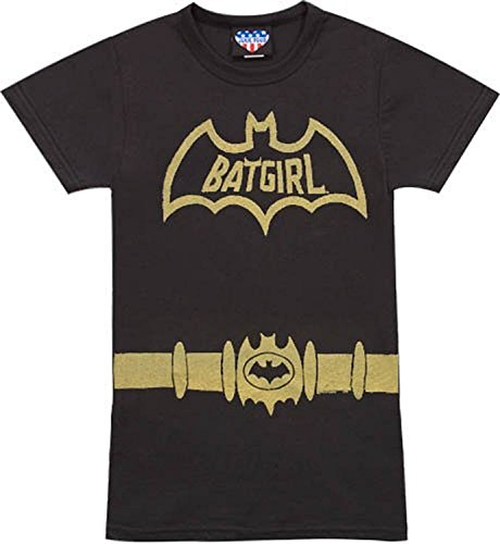 TV Store Batgirl Kostüm Washed schwarz Junior/Damen T-Shirt - (Batgirl Shirt Kostüm T)