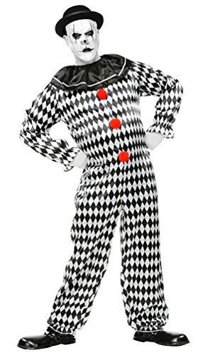 Für Herren Kostüm Pierrot - Karneval-Klamotten Harlekin Clown Pierrot Herren-Kostüm Narren Männer schwarz weiß Größe 50