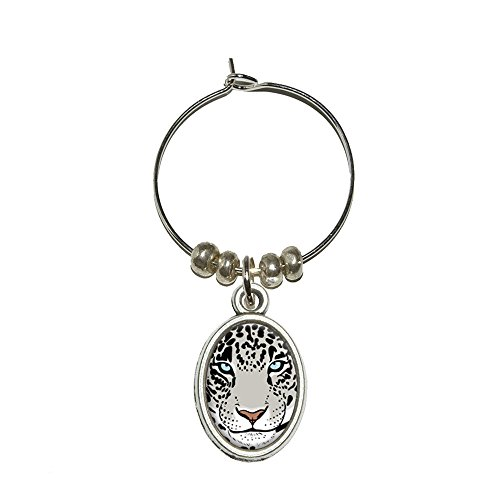 Snow Leopard – Big Cat Wein Glas Oval Charm Drink Marker (Charms Glas Cat Wein)